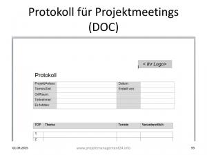 Protokoll für Projektmeetings