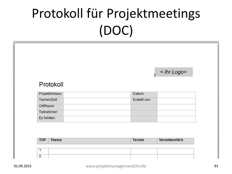 Word-Vorlage zur Erstellung von Protokollen