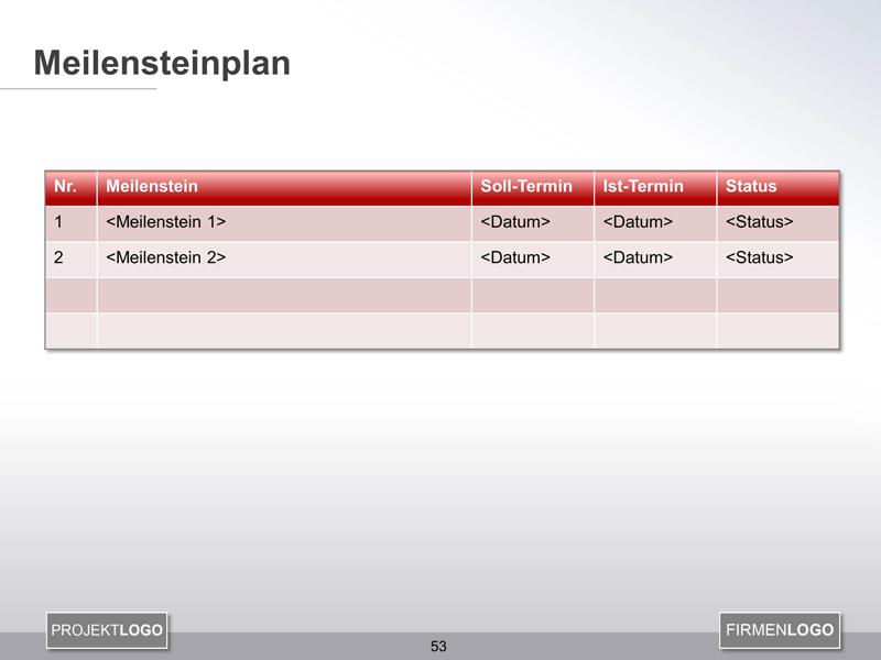 Meilensteinplan - Projektmanagement Vorlage