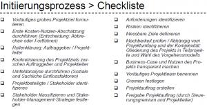 Initiierungsprozess Checkliste