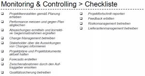 Monitoring und Controlling Checkliste