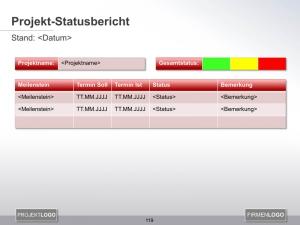 Projekt-Statusbericht als Vorlage in PowerPoint